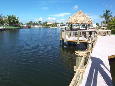 Boat dock and tiki hut