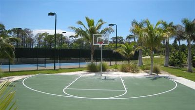 A basketball court on the grounds