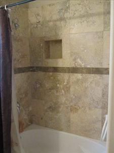 Travertine Tile tub and shower combo