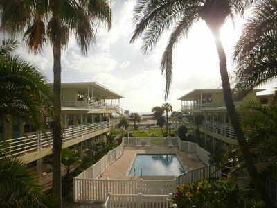 "Beachfront property in the ""Old Florida"" style with ""new"" heated swimming pool."