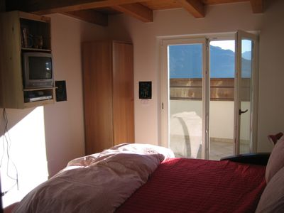Riva del Garda villa rental - Upper Level Bedroom #3 with 2 balconies