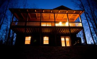 Stanardsville cabin photo - Rear of the cabin, Many windows showcase the sun, stars and fresh mountain air.