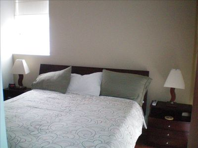 Master Bedroom with privte bath, walk in closet and cable TV