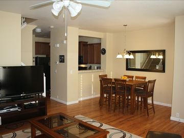 Living Room, dining room & kitchen. Hardwood floors on first level.