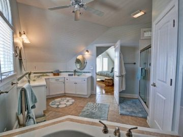 Top Floor Master Bath w Jacuzzi Tub, glass bowls sinks with waterfall faucets