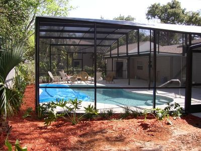 Newly built private screened in pool.