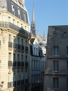 View on spire of Notre-Dame from the apartment