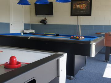 New this year: Games room with pool table, air hockey, foosball, darts and XBox