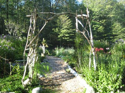 Stroll through the birch trellis along the garden pathways