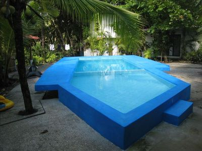 Beautiful kid friendly pool in our secluded backyard. Shallow wading pool