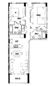 Floor plan of our 2 bedroom condo