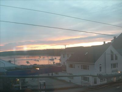 Damariscotta Harbor view from living room and front bedroom. Beautiful sunsets.