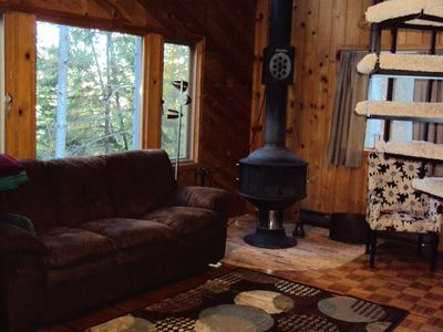 Living room with wood stove.