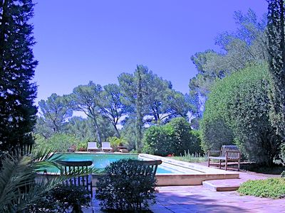 Hyeres-Plage apartment rental - Private pool, view from BBQ area.