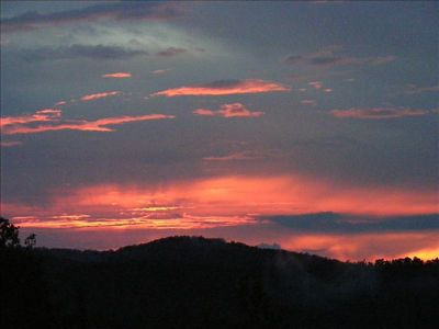 Sunset from Rockydale Cottage Deck, Fall 2011