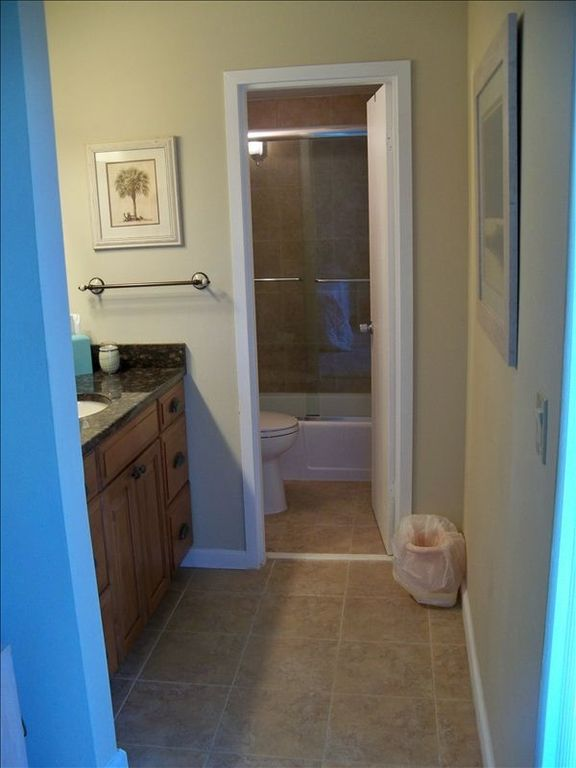 Master bathroom with separate sink area