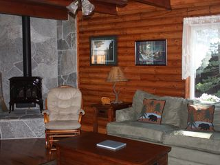 Al Tahoe cabin photo - Cozy and Warm New Beautiful Gas Fireplace with Tahoe Stone Hearth.
