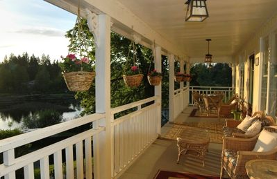 Lake view from 40 foot veranda -perfect for watching sunsets or a game of cards