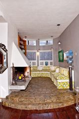 Philadelphia house photo - Open Tuscan fireplace with custom built seating.