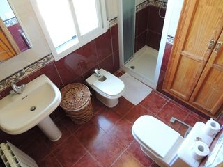 Alhaurin de la Torre villa photo - Modern bathroom with sink, w.c, low level bidet and shower cubicle