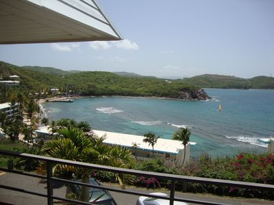Beautiful view of Bolongo Bay and Caribbean Sea from balcony