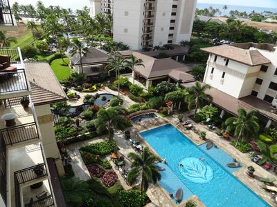 Your view from the lanai - pools, koi pond, lagoon and ocean