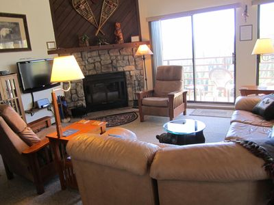 Silverthorne condo rental - View from living room toward deck.