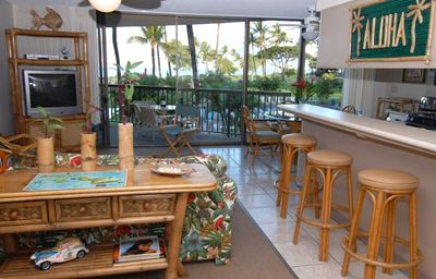 "Sit up to the""Aloha"" bar and enjoy a drink with a panoramic view!"