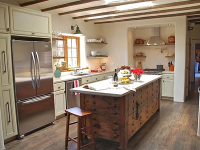 Santa Fe house rental - Main-house kitchen. It's as nice as it looks and all new.