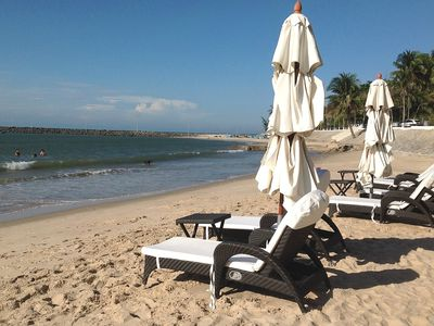 Sealinks private beach with restaurants and lounging areas