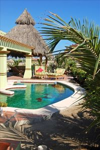 Colima house rental - Oceanside of casa ---- pool and palapa