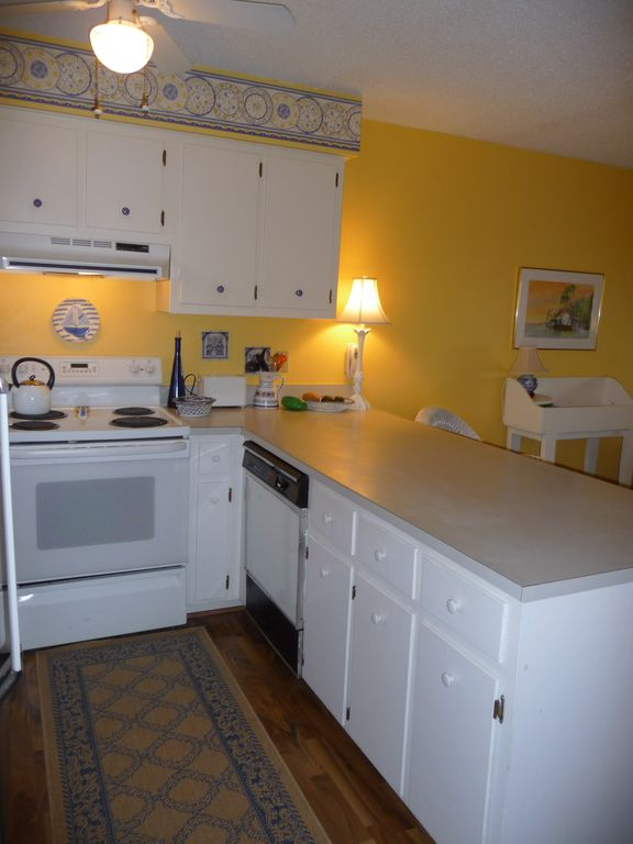 Partial Kitchen - dishwasher/ electric oven/stove with vent above.