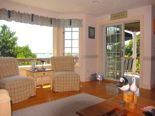 New Seabury house photo - Open living room with sliders to deck