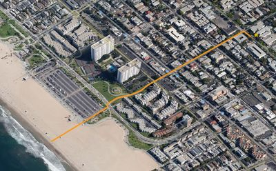 it takes 4-5 minutes to walk to Main St. and another 3-4 minutes to the beach