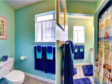 Bathroom with beachy blue colors
