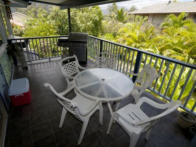 Covered Lanai with gas BBQ and great mountain views.