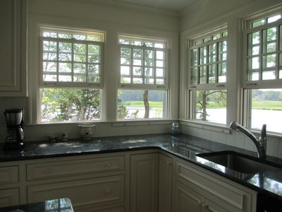 Kitchen with abundant water views
