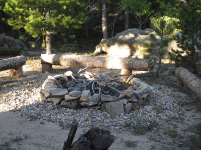 Summer- One of 3 fire pits on the Ranch. This one is closest to the home.