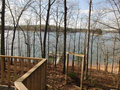 The view from the back deck, Tugaloo State Park is directly across the lake.