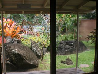 Haleiwa cottage photo - View looking out dining room, you have privacy and beautiful views around you.
