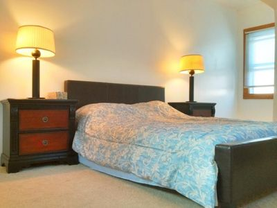 Rochester cottage rental - Master bedroom. Luxury mattress Queen bed. A/C, closet, window seat, mirror
