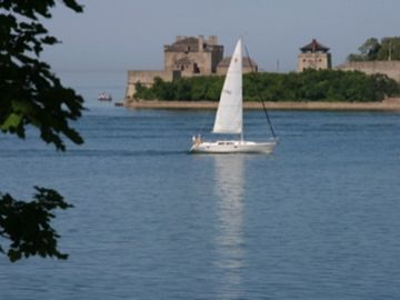 Just a pretty five minute walk from the cottage, sailing on Lake Ontario