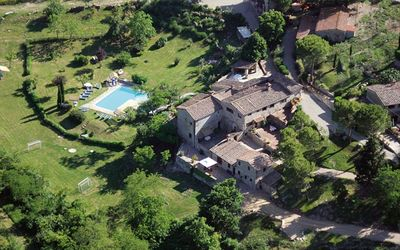 aerial view of the guest houses