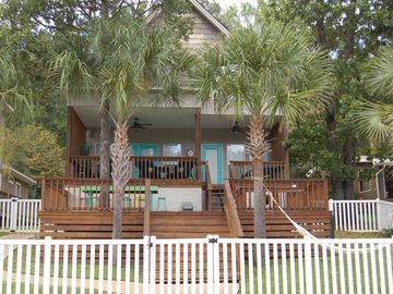 Lake Martin house rental - From dock looking @ back porches