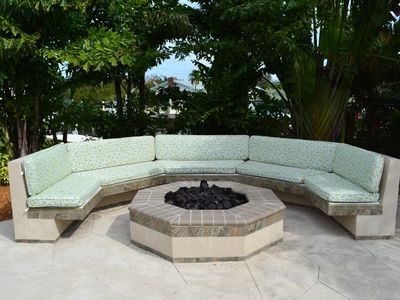 Fire Pit with Seating by Pool
