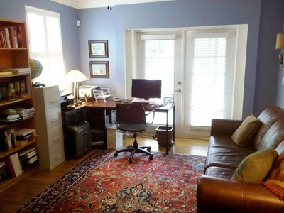 St. Augustine villa rental - Den/Library has own BR/shower, comfy queen sofa-bed -- balcony overlooks garden