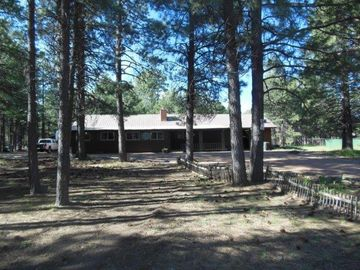 Forest Lakes cabin rental - Lots of beautiful shade pine trees & porch with picnic table to enjoy view