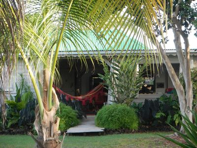 Creole House in a tropical garden in the mold