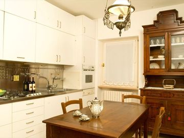 in your modern and antiquary furnitured kitchen