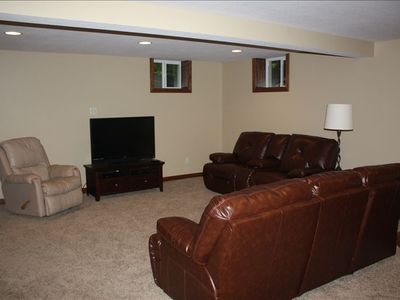 Newly finished - downstairs family room complete with leather and 47' tv